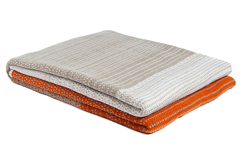 Digital Ombré Outdoor Throw, Orange