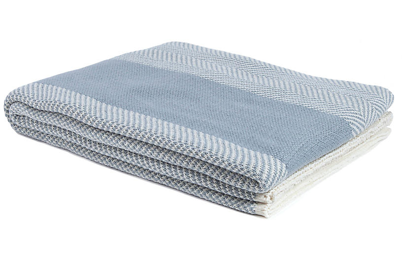 Herringbone Outdoor Throw, Gray