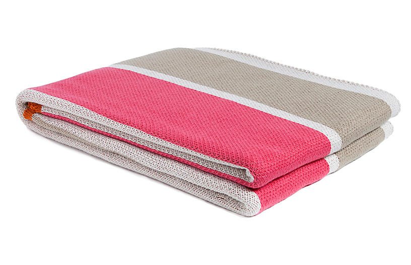 Cabana Stripe Outdoor Throw, Orange/Pink