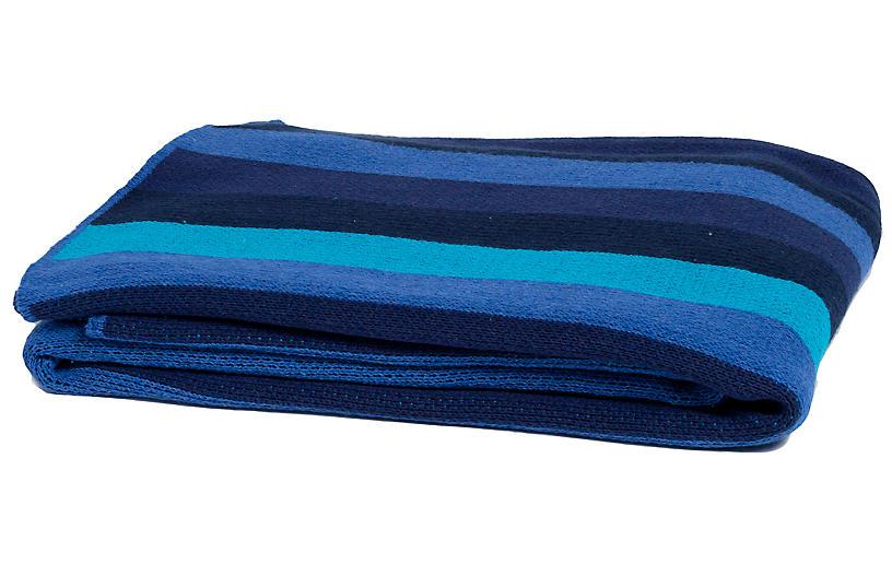 Stripe Throw, Navy Blue