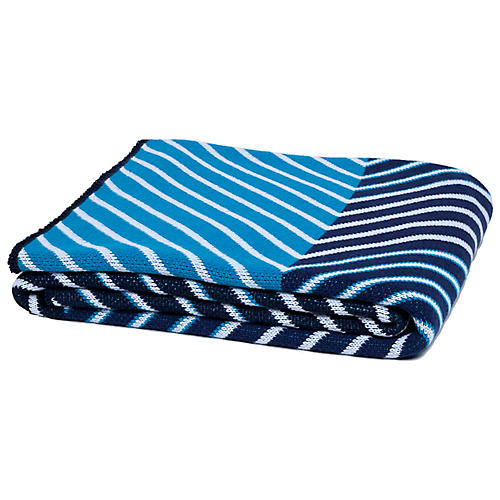Zag Throw, Blue/White