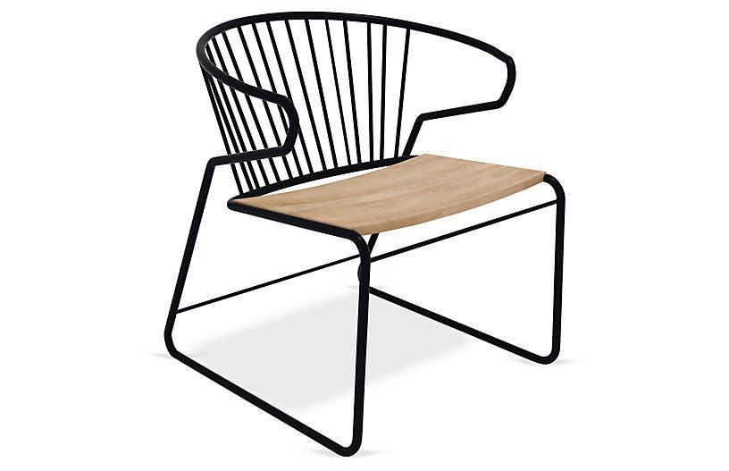 Gabbia Accent Chair, Black/Oak