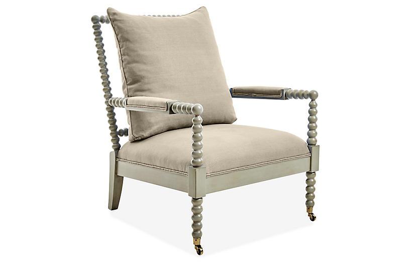 Jamine Accent Chair - Oatmeal Linen - Lillian August