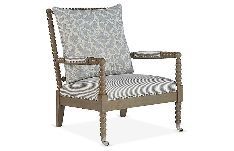 Jamine Accent Chair, Stone Blue/Cream