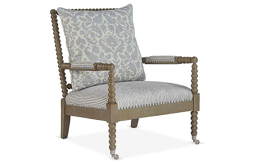 Jamine Accent Chair, Stone Blue/Cream
