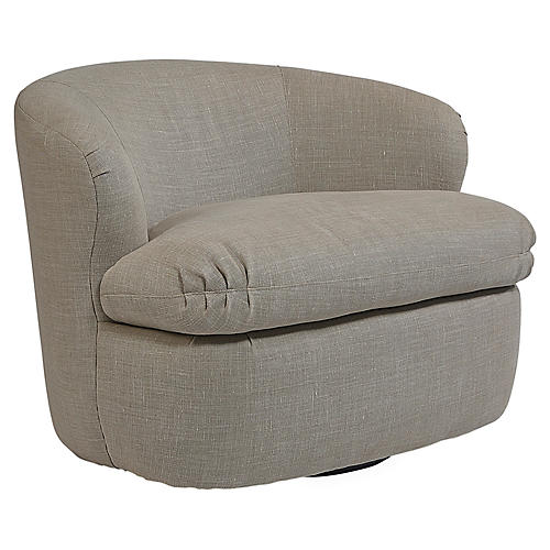 Giles Swivel Chair, Taupe Linen