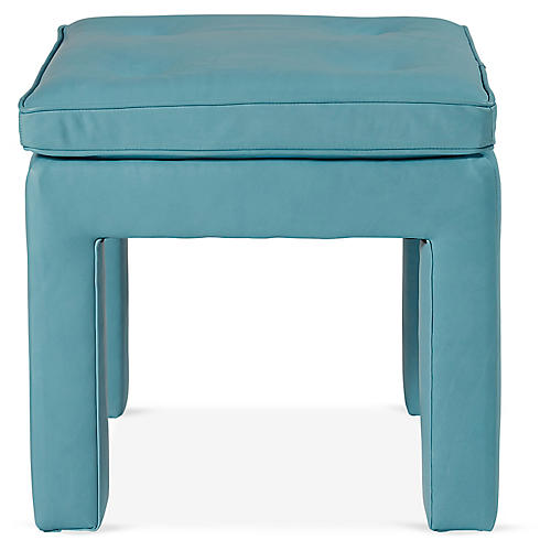 Wallingford Ottoman, Teal Leather