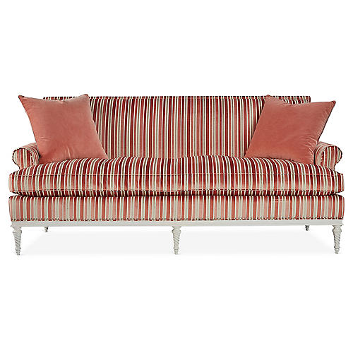 Shelley Sofa, Coral Stripe Velvet