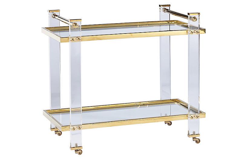 Kent Bar Cart, Clear Acrylic/Brass