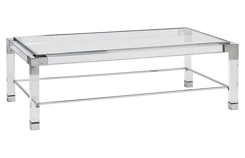 Monti Cocktail Table, Clear Acrylic/Silver
