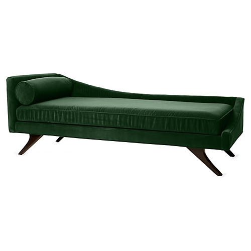 Sansa Right-Arm Chaise, Emerald Velvet