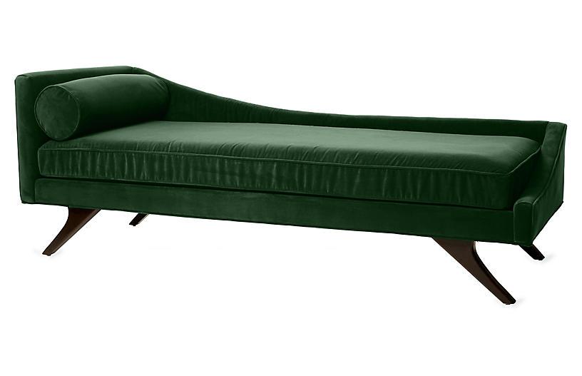 Sansa Right-Arm Chaise, Emerald Velvet