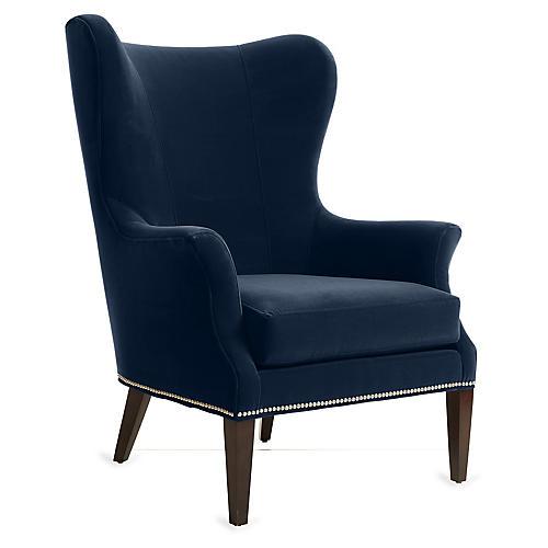 Tristen Wingback Chair, Indigo Velvet