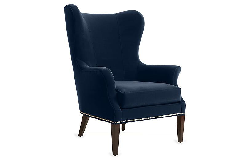 Tristen Wingback Chair Indigo Velvet One Kings Lane