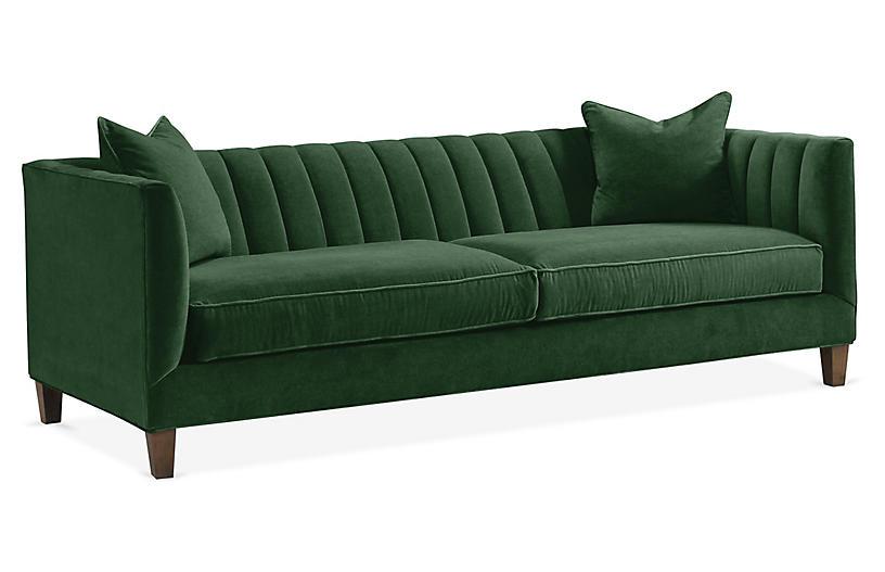 Penelope Sofa, Emerald Velvet