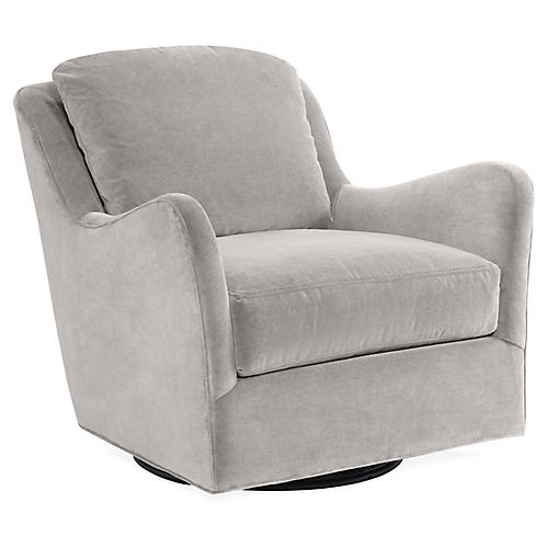 Savannah Swivel Club Chair, Light Gray Velvet