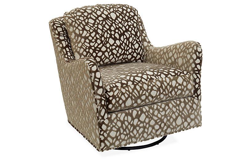 Savannah Swivel Accent Chair, Ivory/Mink Velvet