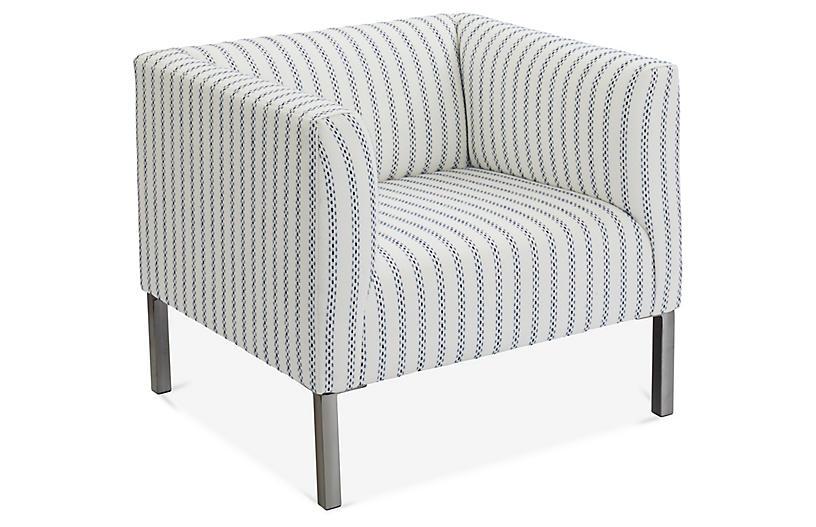 Killian Tuxedo Accent Chair, Navy/White