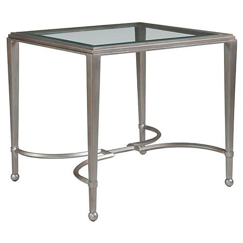 Sangiovese Rectangular Side Table, Argento