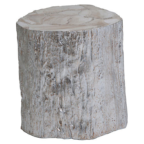 Trunk Segment Side Table, Silver Leaf