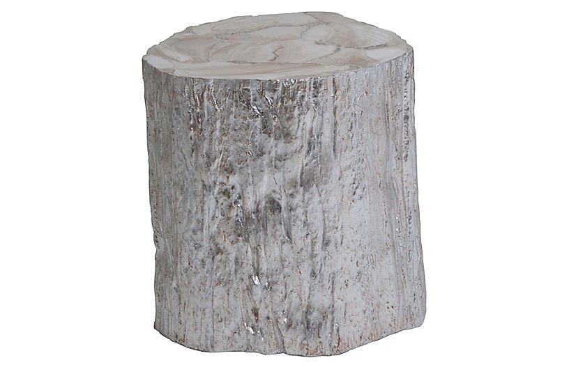 Trunk Segment Side Table, Silver Leaf
