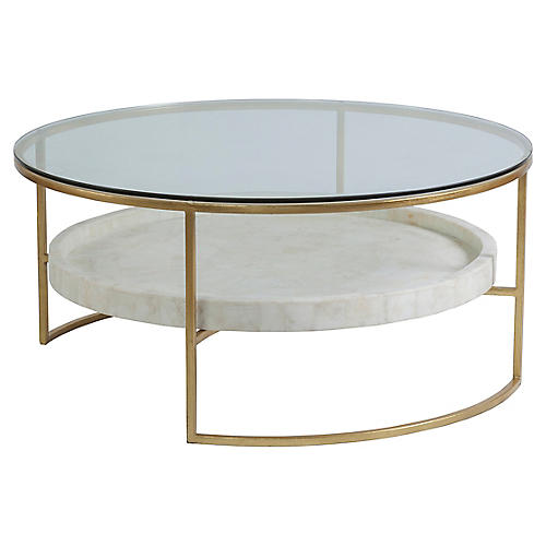 Cumulus Round Coffee Table, White/Gold Foil