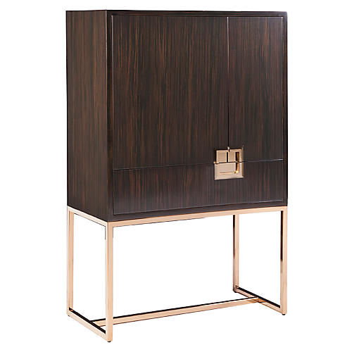 Casanova Bar Cabinet, Ebony/Brass
