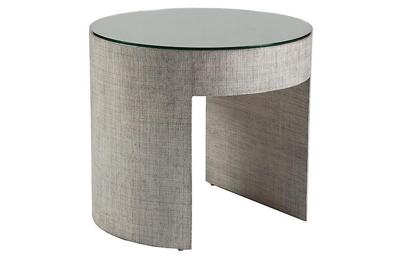 Precept Round Raffia Side Table, Light Gray