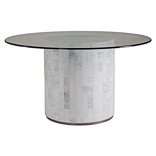 Greta Round Dining Table, White Onyx