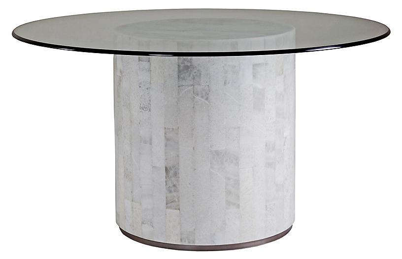 Greta Round Dining Table, White Onyx