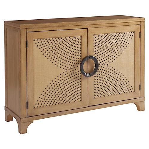 Lido Isle Nailhead Cabinet, Sandstone