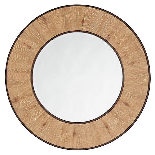 Carins Round Wall Mirror, Natural/Aged Bronze