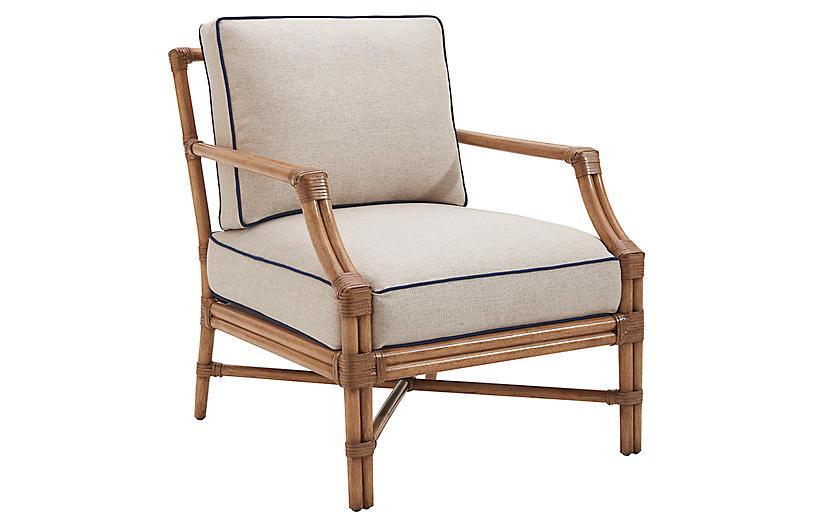 Redondo Accent Chair, Sand/Navy