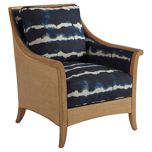 Nantucket Raffia Accent Chair, Indigo Linen