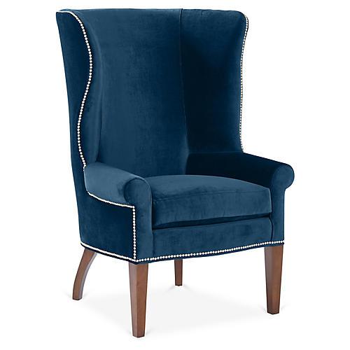 Throwback Wingback Chair, Denim Velvet