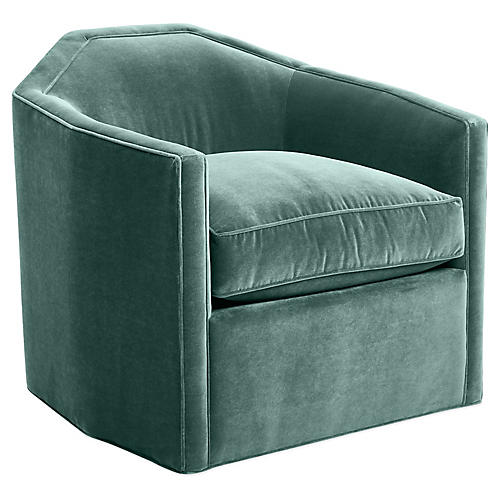 Speakeasy Swivel Club Chair, Sage Velvet