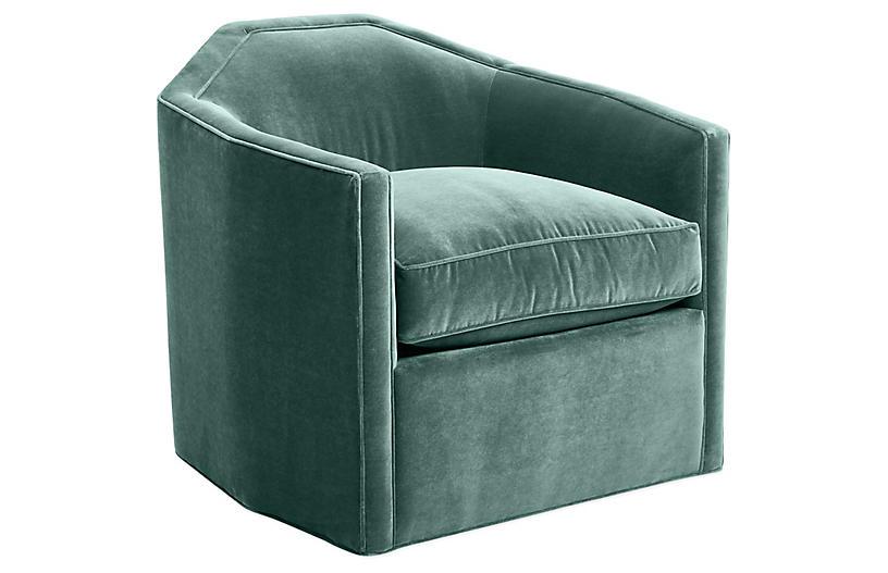 Speakeasy Swivel Club Chair, Sage Velvet
