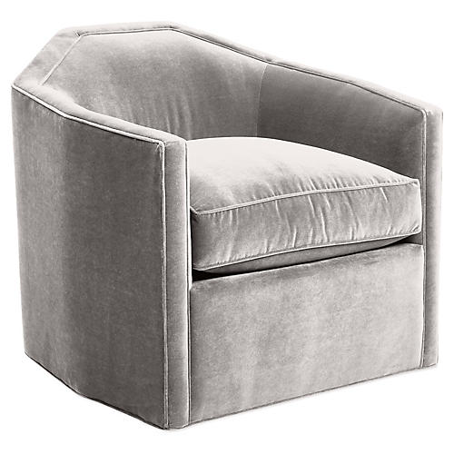 Speakeasy Swivel Glider Chair, Light Gray Velvet