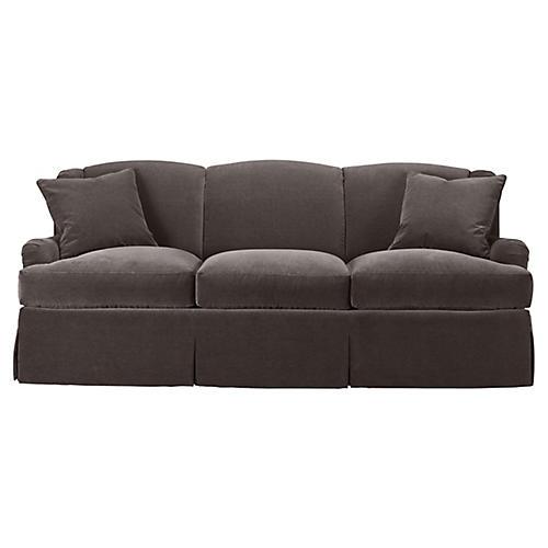 Skirted Lounge Sofa, Charcoal Velvet