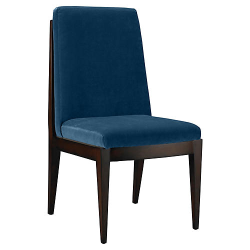 Livingston Side Chair, Denim Velvet