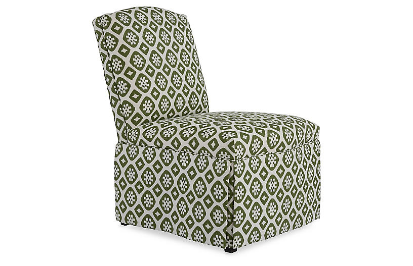 Brooke Armless Side Chair, Hunter Green/Ivory