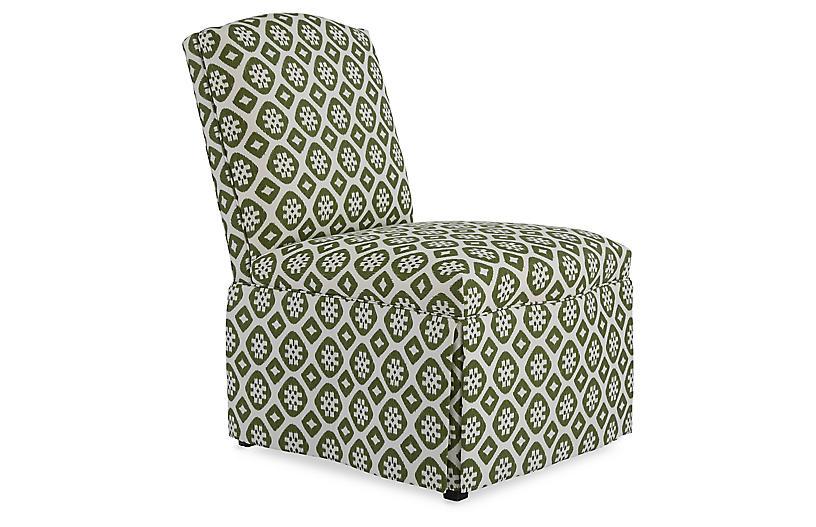 Harris Armless Side Chair, Hunter Green/Ivory