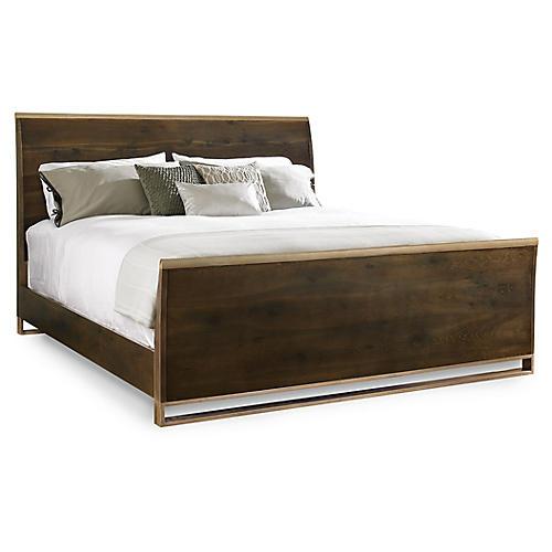 Cap Bed, Fumed Oak/ Matte Gold