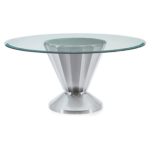 Melvin Dining Table, Brushed Chrome