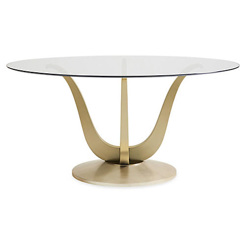 Rounding Dining Table, Champagne Gold