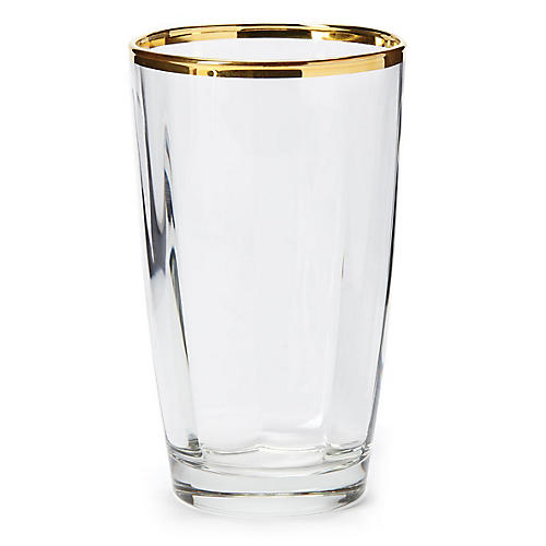 Optical Highball Glass, Clear/Gold