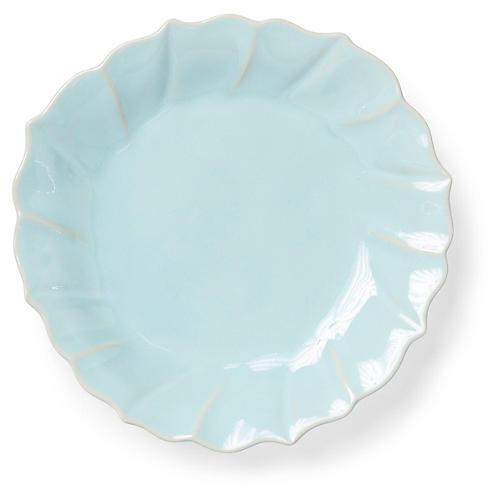 Incanto Stone Ruffled Salad Plate, Aqua