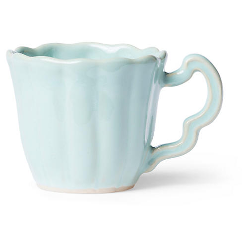 Incanto Stone Scalloped Mug, Aqua