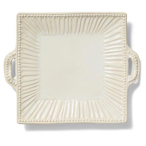 Incanto Stone Striped Square Platter, Linen