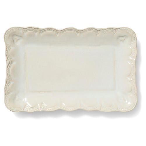 Incanto Stone Lace Rectangular Platter, Linen